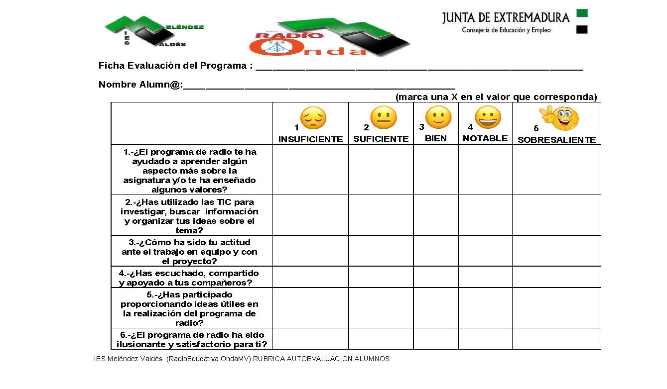 Ficha de evaluación deL programa proyecto ALUMNOS